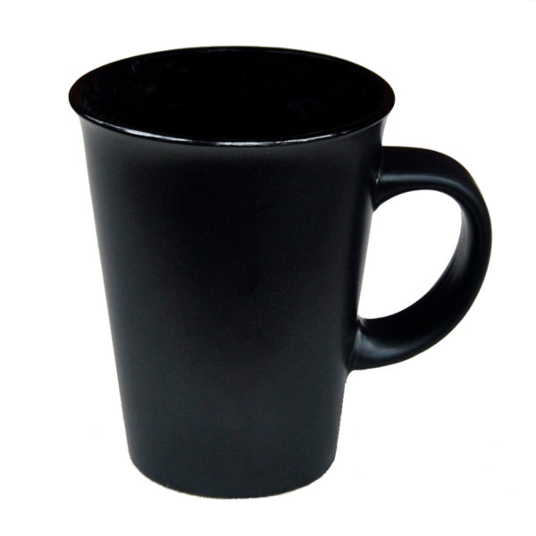 "120-481bla Latte ""Funnel"" 14 oz/ Black Gloss in /Matte out"