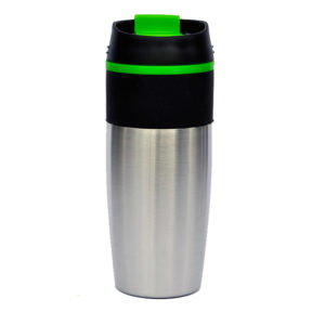 120-535-gr BANDIT: Stainless Steel WITH COLORED LINER& MATCHING SNAP CLOSURE-green